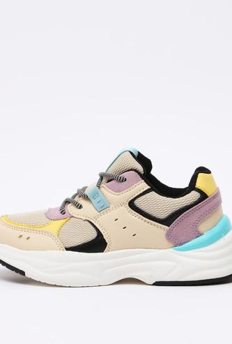 Colour Block Lace-Up Sports Shoes