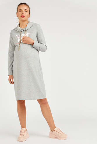Maternity Printed Hooded Shift Dress