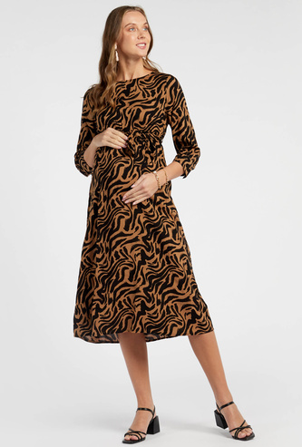 Animal Print Maternity Midi A-line Dress with 3/4 Sleeves