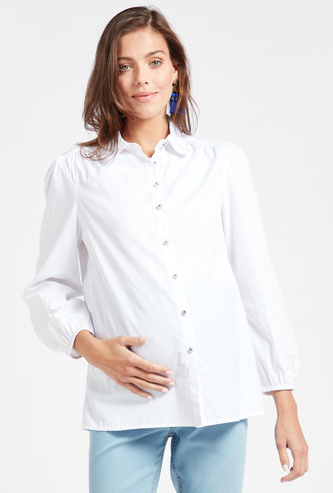 Solid Collared Maternity Shirt with Long Sleeves