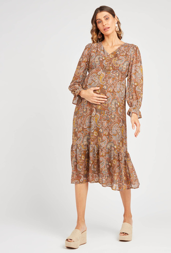 Printed Maternity Midi A-line Dress with V-neck and Long Sleeves