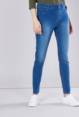 Solid High-Rise Skinny Jeggings with Elasticised Waistband