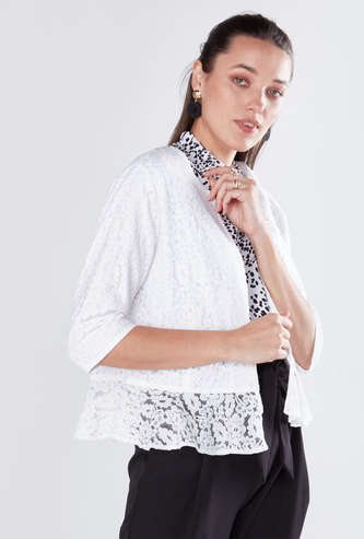 Lace Open Front Jacket with 3/4 Sleeves