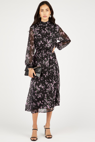 Floral Print Midi A-line Dress with Bishop Sleeves