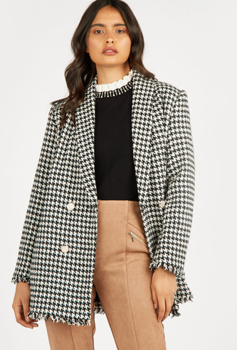 Houndstooth Double Breasted Overcoat with Long Sleeves
