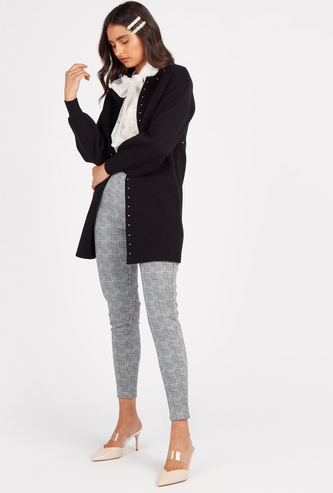 Ankle Length Chequered High-Rise Leggings with Elasticated Waistband