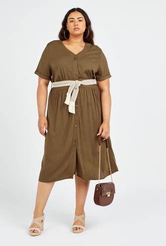 Textured Midi A-line Shirt Dress with Short Sleeves and Tie Ups