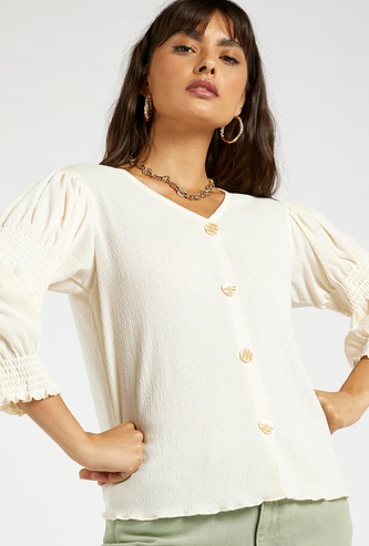 Textured V-Neck Shell Top with Smocking Detail and 3/4 Sleeves