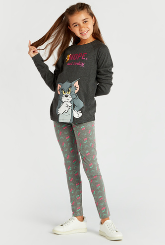 Tom and Jerry Graphic Print T-shirt with Round Neck and Long Sleeves