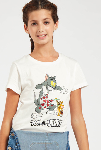 Tom and Jerry Print Round Neck T-shirt with Short Sleeves
