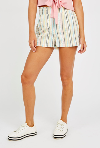 Striped Mid-Rise Shorts with Paper Bag Waistband