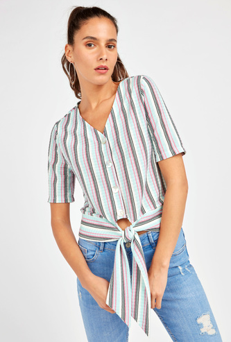 Striped V-neck Short Top with Elbow Sleeves