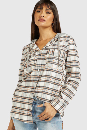 Checked Jacket with Hood and Long Sleeves