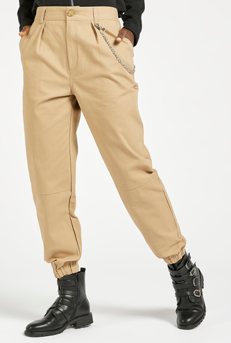 Solid High-Rise Twill Cargo Joggers with Chain and Zip Closure
