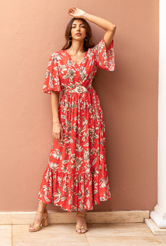 Printed Maxi A-line Dress with V-neck and Flared Sleeves