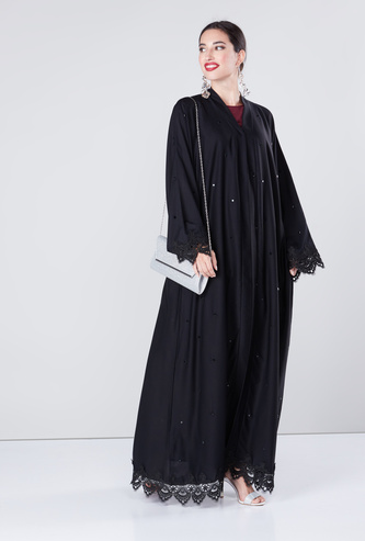 Embellished Abaya with Long Sleeves and Button Up Closure