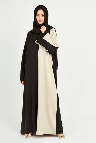 Colourblock Abaya with Long Sleeves