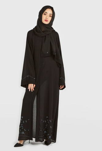 Floral Embellished Abaya with Long Sleeves