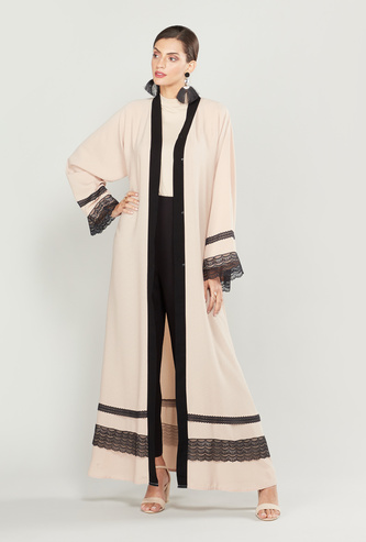Lace Detail Abaya with Long Sleeves and Tie Ups