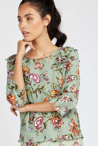 Floral Print Top with 3/4 Sleeves and Round Neck