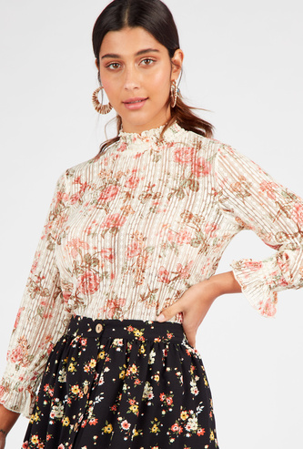 Textured Floral Print Top with High Neck and 3/4 Sleeves