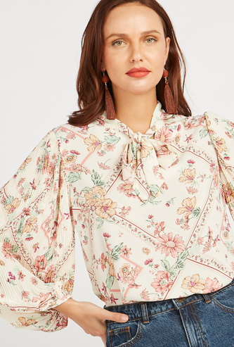 Floral Print Top with Bishop Sleeves and Pussy Bow
