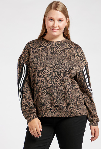 Animal Print Round Neck Sweat Top