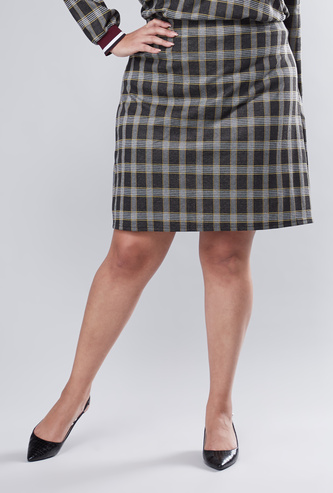 Chequered A-line Mini Skirt