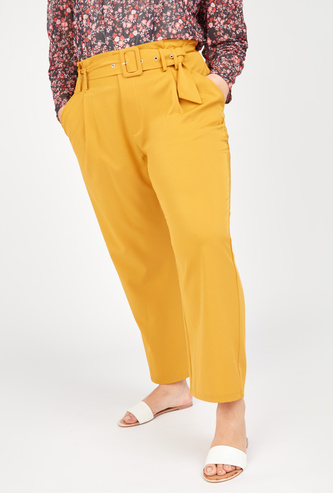 Solid High Rise Pants with Pockets and Belt