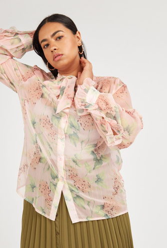Floral Print Top with Pussy Bow and Ruffled Long Sleeves