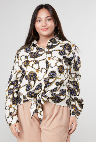 Printed Front Knot Shirt with Long Sleeves