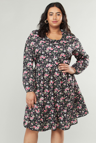 Floral Print Dress with Long Sleeves