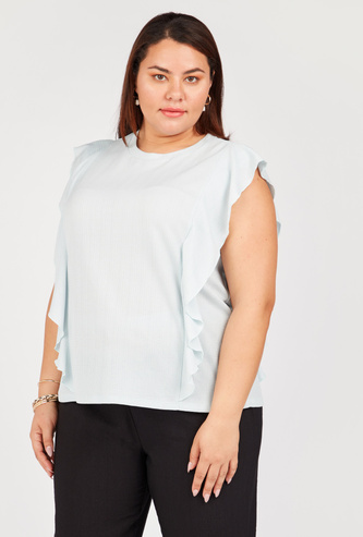 Ruffled Top with Round Neck and Cap Sleeves