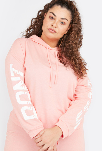 Printed Hoodie with Long Sleeves