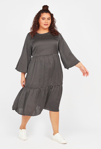 Printed Midi A-line Dress with Round Neck and Long Sleeves