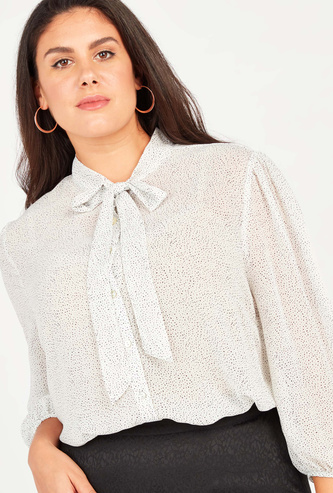 Printed Top with Pussy Bow and Bishop Sleeves