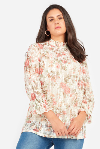 Floral Print Ruffled Top with High Neck and Long Sleeves