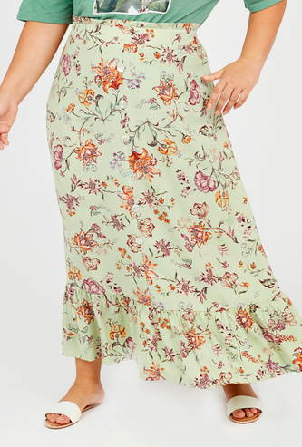 Printed Maxi A-line Skirt with Elasticised Waistband