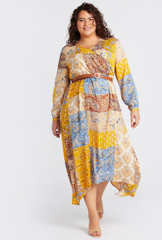Printed Wrap Front Hanky Hem Midi Dress with Full Sleeves