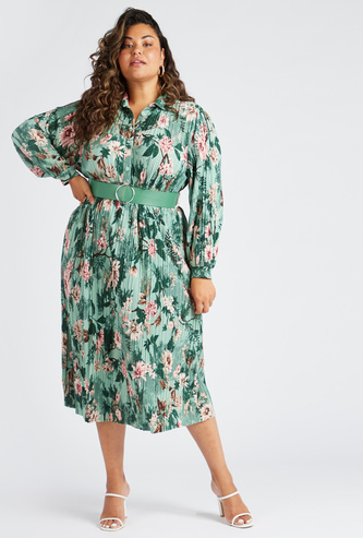 Floral Print Midi Shirt Dress with Long Sleeves