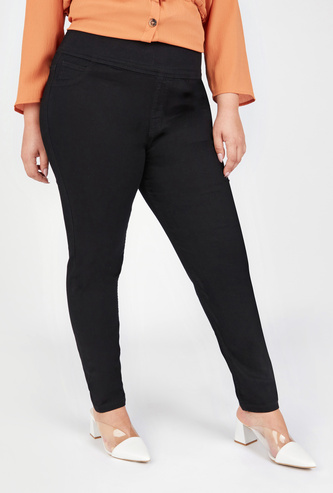 Solid Mid-Rise Jeggings with Pocket Detail and Elasticised Waistband