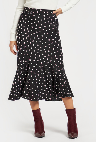 Printed Fishtail A-line Midi Skirt with Semi Elasticated Waist