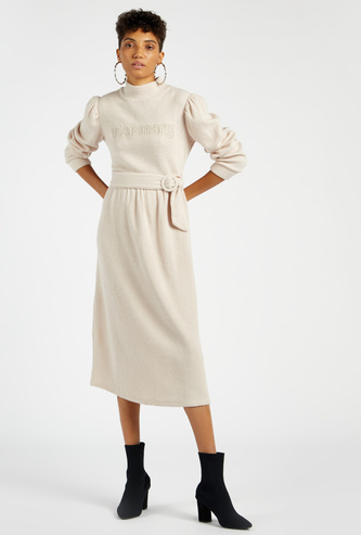 Textured Midi A-line Dress with Belted Waist and Puff Sleeves