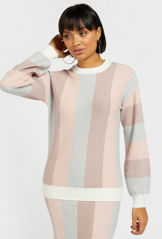 Striped Sweater with Long Sleeves and Round Neck