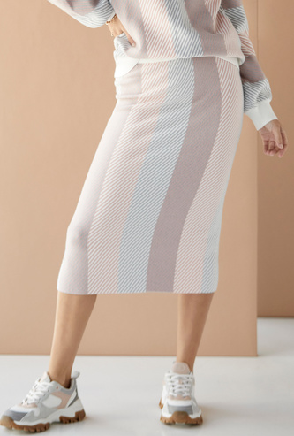 Striped Midi Pencil Skirt with Elasticated Waistband
