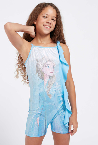 Elsa Print Swimsuit with Adjustable Straps and Frill Detail
