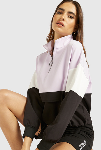 Colourblock Sweatshirt with High Neck and Long Sleeves