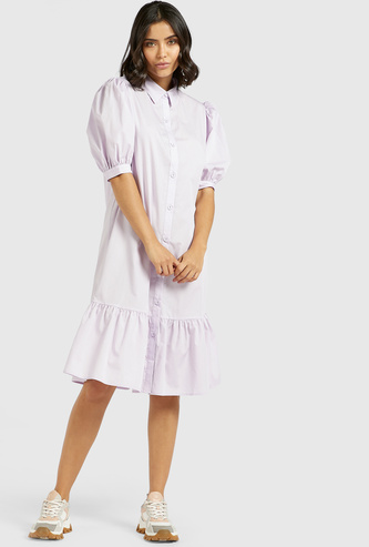 Solid Midi Shirt Dress with Spread Collar and Short Sleeves