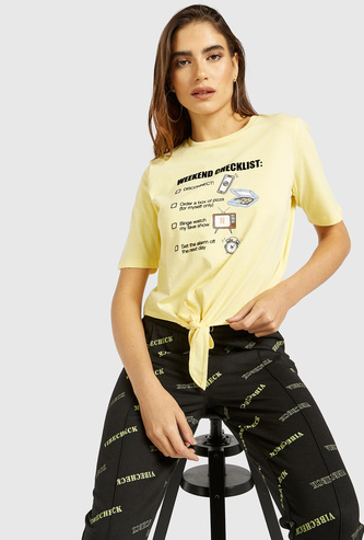 Graphic Print Round Neck T-shirt with Short Sleeves and Tie-Up
