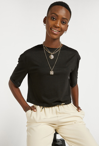 Solid Round Neck Cropped T-shirt with Short Sleeves